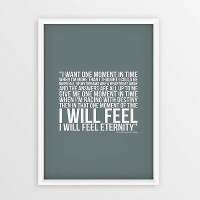 Whitney Houston one Moment In Time Poster Song Lyrics A4 A3 Size Gift Wall