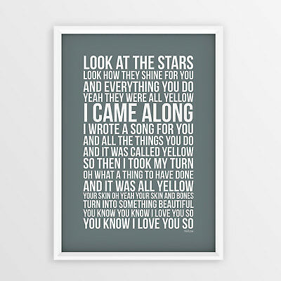 Coldplay Yellow Song Art Print Lyrics Typography Poster Picture A4, A3 Sizes