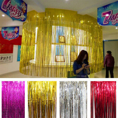 1 2 3m Colorful Metallic Tinsel Curtain Foil Party Christmas String Decoration