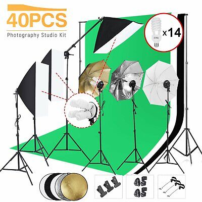 Photo Video Studio Photography Continuous Lighting Kit Muslin Backdrop Stand Set