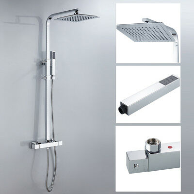 Thermostatic Shower Mixer Square Chrome Bathroom Exposed Twin Head Valve Bar Set
