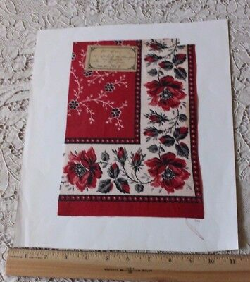 Antique 19thC Turkey Red Cotton Rose Banana Sample With Original Tag