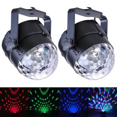2x 3W Effect Disco Light Stage LED Crystal DJ Laser Lights Magic Ball Party Club