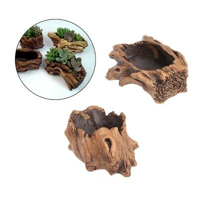 Imitating Wood Flower Cement Planters for Succulents Flowerpots Bonsai Decor