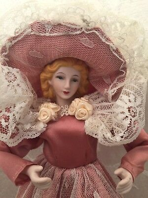 "Victorian Lady Ornament Pink Dress Hat Lace 13"" Christmas Decor Porcelain Fabric"