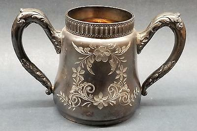 Barbour Silver Co Quadruple Plate 2409 Hand Chased Open Sugar/Spooner Holloware