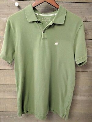 00f764f5760f Banana Republic Mens Short Sleeve Pique Polo Shirt Size M Green Elephant  Logo A8