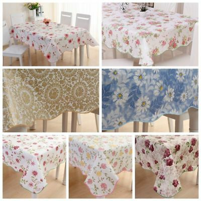 Waterproof  PVC Vinyl Wipe Clean Tablecloth Dining Kitchen Table Cover Protector