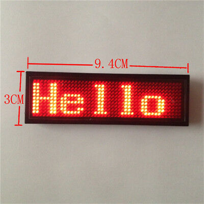 New 2017 Red Scrolling Digital Message Name Tag Badge Recharge LED Programmable