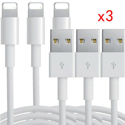 3 x Lightning 8Pin USB Data Sync Charger Cable Lead For Apple iPhone 6 Plus 5S 7
