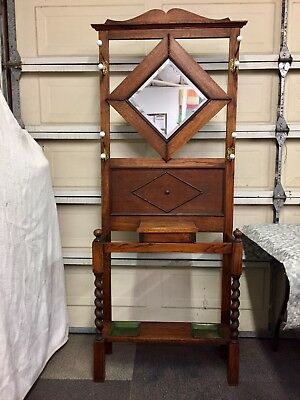 Antique Wood Tree Umbrella Stand Mirrored Coat Hat Rack.