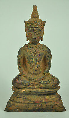 Antique Phra Chai Ngang King Emperor Thai Old Bronze Buddha Figure Statue Rare