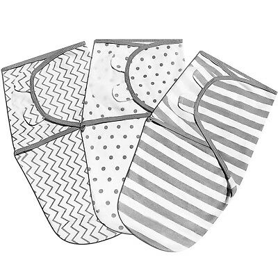 Swaddle Blanket Wrap - Adjustable Infant Baby Sleep Sack - 3 pack - Soft Cotton