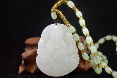China Hand carved natural white Jade Statue Pendant Necklaces guanyin