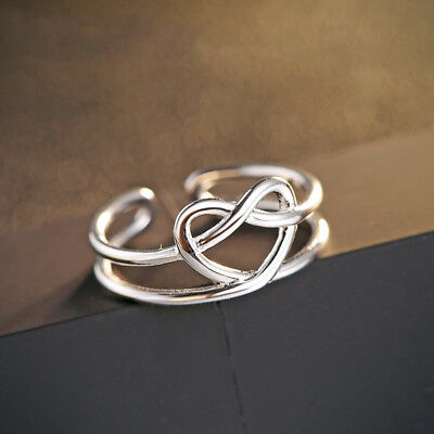 925 Sterling Silver Love Heart Celtic Knot Size Adjustable Ring US size 5-9