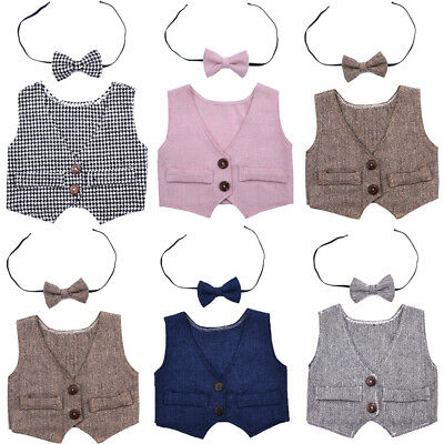 Baby Boy Newborn Infant Waistcoat Vest+Bow Tie Photography Props Outfit Set New