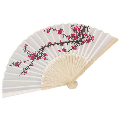 Delicate Plum blossom Blossom Design Silk Folding Fan Favors White rose red S6H1