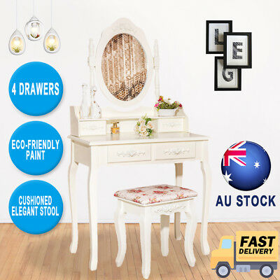 White Luxury Jewelry Dressing Table Makeup Desk with 4 Drawers Mirror Set+ Stool
