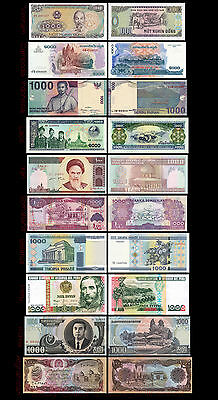 Lot 10Pcs Banknotes from 10 Different Countries All Fave Value 1000 Uncirculated