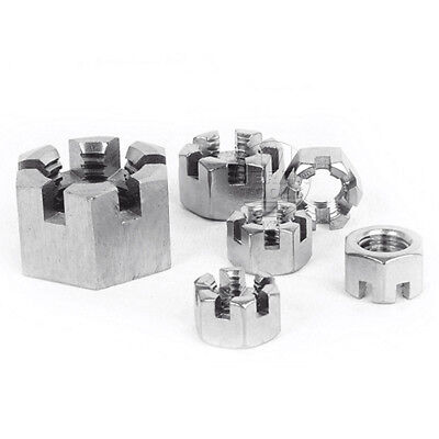 Select Size M6 - M24 304 Stainless Steel Locknut Slotted Hex Castle Nut
