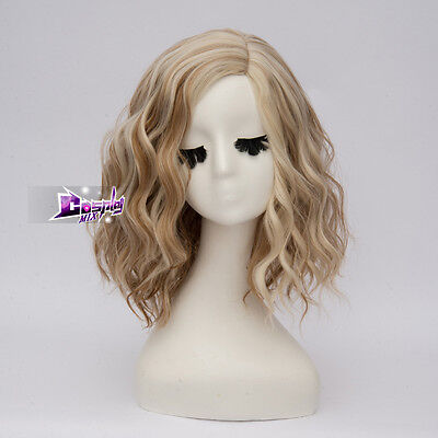 35CM Lolita Short Brown Mixed Blonde Curly Synthetic Women Cosplay Full Hair Wig