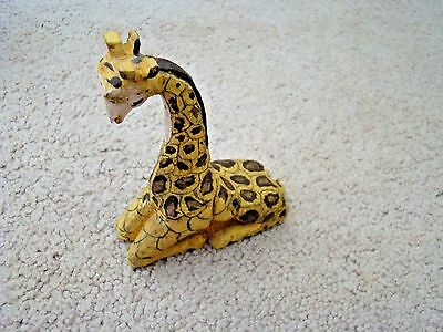 Vintage Hand Carved Giraffe 1980 Wood Hand Painted Near Mint