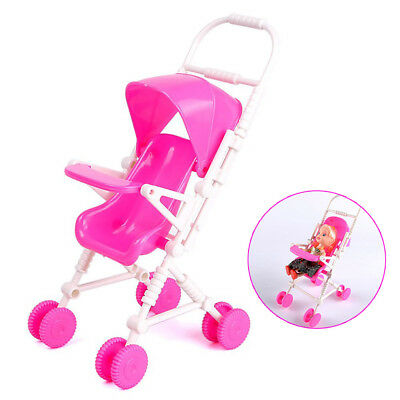 1x Plastic Pink Baby Buggy Stroller Dollhouse Nursery Furniture Toy