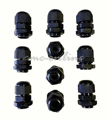 Ip68 Black Cable Gland Nylon With Nut Pg7 Pg9 Pg11 Pg13.5 Pg16 Pg19 Pg21