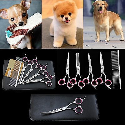 """6"""" Professional Hair Cutting Scissors Pet Dog Grooming Kits Curved Shears Tool"""