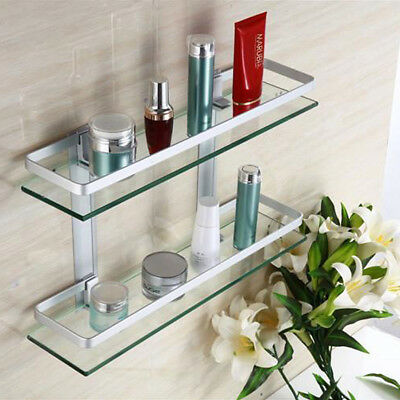 40/50/60cm Square Double Vanity Modern Glass Bathroom Rectangle Shelf