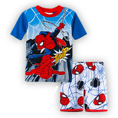 SPIDERMAN boys cotton short sleeve pjs clothing size 1 2 3 4 5 6 sleepwear new