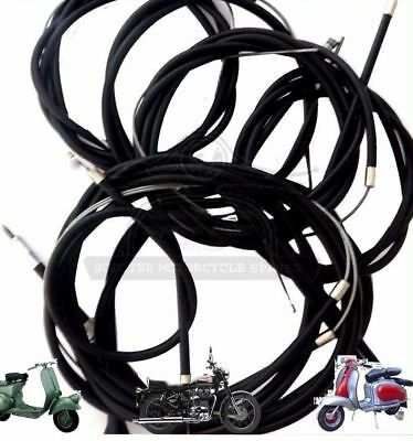 LAMBRETTA CABLE KIT SET S3 Li TV SX GP IN BLACK NYLON LINED @AUD