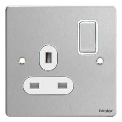 GET Ultimate Flat plate - switched socket - 1 gang - stainless steel