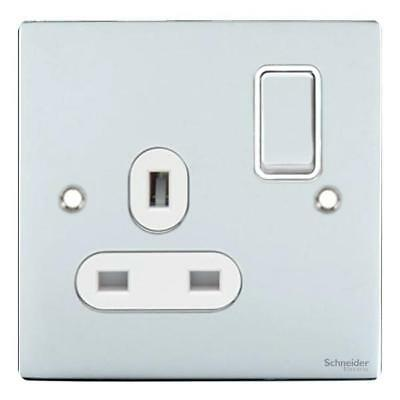 GET Ultimate Flat plate - switched socket - 1 gang - chrome