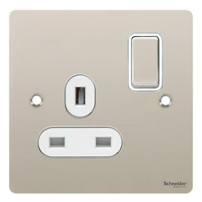 GET Ultimate Flat plate - switched socket - 1 gang - pearl nickel