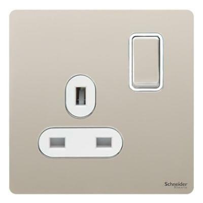 GET Ultimate Screwless flat plate - switched socket - 1 gang - pearl nickel