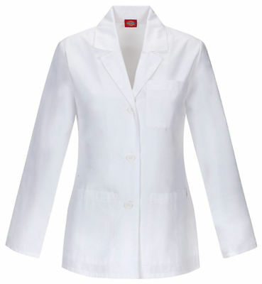 Dickies Women's Long Sleeve Modern Classic Notched Lapel Pockets Lab Coat. 84401