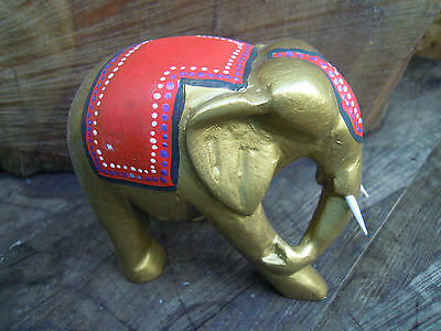 Hand Painted african style Wooden Elephant Wild Animal Ornament dot art