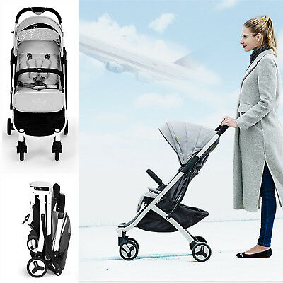 Allis Travel Baby Stroller Lightweight Pushchair Buggy Pram - Grey