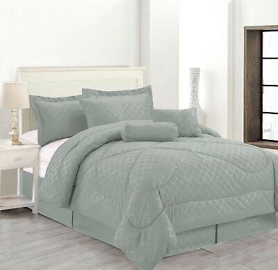 7 Piece Solid Luxury Hotel Comforter Set Bed In A bag All Sizes - Gray