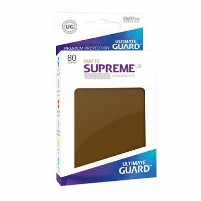 (80) Ultimate Guard SUPREME UX STANDARD Size Card Sleeves - MATTE - BROWN
