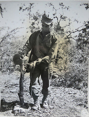 Wwii Photo - Helmet Marks Grave Of Japanese Soldier Mong Noi Burma 1945
