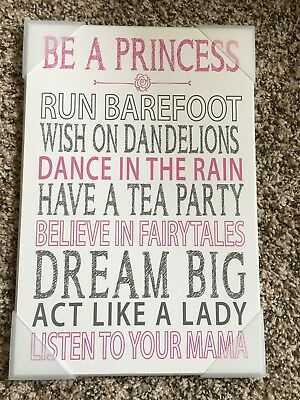 The Kids Room Be A Princess Pink Typog Inspiration Wall Plaque Art