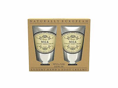 Naturally European Hand and Foot Cream Gift 2 x 75ml - Milk NIB