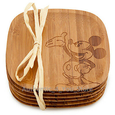 NEW Disney Parks Mickey Mouse Bamboo Coasters Set of 6 Mickey Gourmet Kitchen