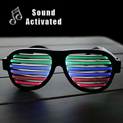 Sound & Music Activated Light Up Glasses Shutter Shades Party Disco LED