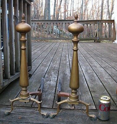 """Antique 18 Century Chippendale Brass Pair of Andirons Ball & Claw Feet 22"""" Tall"""