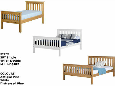 Seconique Solid Pine or White Wooden Bed Frame - Single, Double, Kingsize