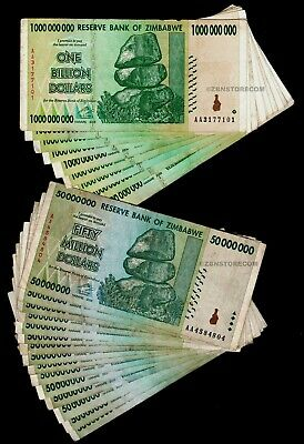 20 Zimbabwe banknotes-10 x 10 /& 20 Billion dollars-paper money currency