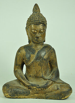 Antique AYUTTHAYA Chinese Thai Gilt Gold Old Bronze Buddha Seated Figure Statue